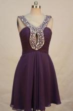 Beautiful Short V-neck Knee-length Prom Dresses Beading Style FA-Z-00149