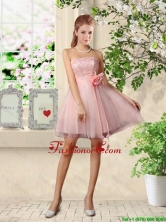 Beautiful Strapless Laced Prom Dresses with Hand Made Flowers BMT037AFOR