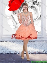Beautiful Straps Beaded Prom Dresses with Mini Length in Orange QDDTA116003FOR