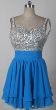 Brand New Short Straps Mini-length Sky Blue Prom Dress LHJ42807