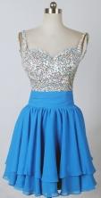 Brand New Short Straps Mini-length Sky Blue Prom Dress LHJ42807