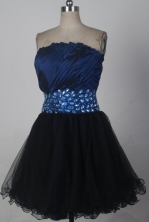 Cheap A-line Strapless Mini-length Navy Blue Prom Dress LHJ42814