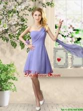 Cheap One Shoulder Ruched Prom Dresses in Lavender BMT056CFOR