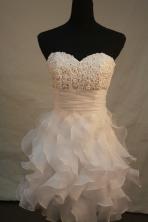 Cute empire sweetheart-neck mini length organza white beading short prom dresses FA-X-130