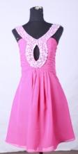 Cute short scoop mini length chiffon beading pink short prom dresses FA-X-109