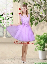 Decent Bateau A Line Prom Dresses with Lace and Bowknot BMT036CFOR