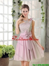 Discount A Line One Shoulder Pink Prom Dresses with Bowknot BMT010C-4FOR