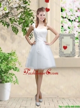 Discount One Shoulder Appliques Prom Dresses in White BMT057BFOR