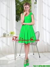 Elegant A Line Straps Green Prom Dresses with Hand Made Flowers BMT001C-12FOR