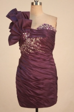 Elegant Short One-shoulder Neck Mini-length Burgundy Beading Prom Dresses Style FA-C-168