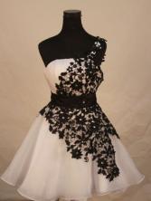 Exquisite A-line One-shoulder Neck Short White Appliques Short Prom Dresses Style FA-C-127