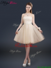 Fashionable Strapless Lace Champagne Short Prom Dresses BMT065EFOR