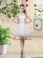 Feminine A Line Halter Top Prom Dresses with Bowknot and Lace BMT053FOR