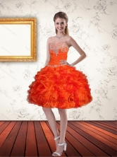 Gorgeous Sweetheart Orange Short Prom Dresses with Ruffles and Beading QDZY061TZCFOR