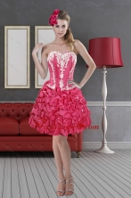 Hot Pink Sweetheart 2015 Short Prom Dresses with Pick Ups and Embroidery XFNAOA58TZBFOR