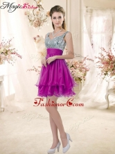 Hot Sale Straps Short Prom Fuchsia Dresses with Sequins BMT072-3FOR