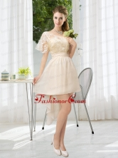 Lace High Low Short Sleeves Prom Dress with One Shoulder BMT021BFOR