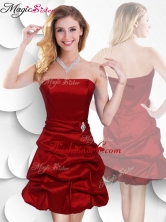 Latest Strapless Taffeta Wine Red Prom Dress with Bubles SWPD013FBFOR