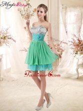 Lovely 2016 Short Prom Dresses with Sequins and Belt BMT002E-5FOR