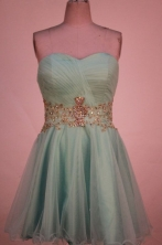 Lovely A-line Sweetheart-neck Mini-length Organza Gray Appliques Short Prom Dresses Style FA-C-176