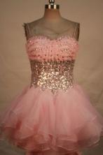Lovely Short Strap Mini-length Baby Pink Beading Prom Dresses Style FA-C-211