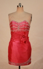 Lovely Short Sweetheart-neck Mini-length Satin Red Beading Prom Dresses Style FA-C-207