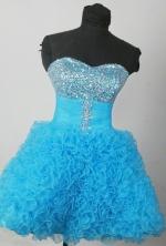 Luxuriously Short Sweetheart Mini-length Aqua Prom Dress LHJ42808