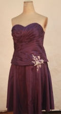 Modern A-line Sweetheart-neck Knee-length Dark Purple Appliques Short Prom Dresses Style FA-C-213