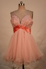 Modest A-line Strap Mini-length Organza Pink Beading Short Prom Dresses Style FA-C-233