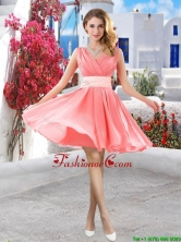 Perfect Short Belt and Ruched Prom Dresses in Watermelon BMT061EFOR