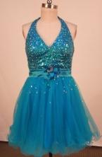 Popular A-line Halter Top neck Mini-length Organza Blue Beading Short Prom Dresses Style FA-C-174