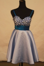 Popular A-line Strap Mini-length Gray Beading Short Prom Dresses Style FA-C-228