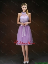 Popular Knee Length Prom Dresses with Halter Top BMT063CFOR