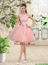 Popular Strapless Mini Length Prom Dresses with Appliques and Bowknot BMT042EFOR
