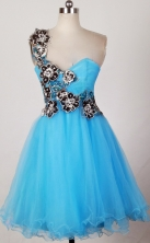 Pretty A-line One Shoulder Mini-length Aqua Prom Dress LHJ42816