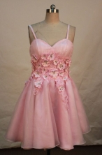 Pretty A-line Straps Knee-length Short Prom Dresses Appliques with Beading Style FA-Z-00148