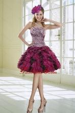Ruffles Strapless Leopard Short Prom Dresses in Multi Color XFNAO019TZBFOR