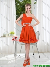 Rust Red One Shoulder Prom Dresses with Beading and Belt BMT001A-8FOR