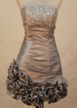 Sexy A-line Strapless Knee-length Short Prom Dresses Beading Style FA-Z-00140