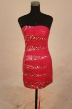 Sexy Column Strapless Mini-length Red Beading Short Prom Dresses Style FA-C-234