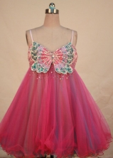 Sexy Short Strap Mini-length Organza Beading Hot Pink Prom Dresses Style FA-C-136