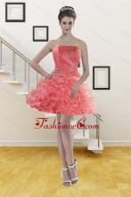 Short Ruffles Watermelon Red Strapless 2015 Prom Gown with Beading XFNAO704TZBFOR