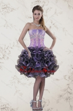 Short Strapless Multi Color Prom Dresses with Ruffles and Appliqeues XFNAO5744TZBFOR