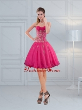 Short Sweetheart Hot Pink Prom Dresses with Embroidery and Beading QDZY209TZCFOR