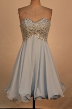 Sweet A-line Sweetheart-neck Mini-length Grey Beading Short Prom Dresses Style FA-C-173