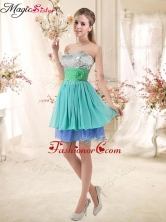 Sweet Short Multi Color Prom Dresses with Sequins and Hand Made Flowers BMT002E-6FOR