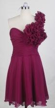 Sweet Short One Shoulder Knee-length Burgundy Prom Dress LHJ42871
