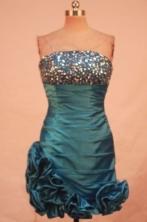 Sweet Short Straples Mini-length Blue Beading Prom Dresses Style FA-C-189