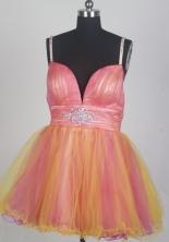 Sweet Short Straps Mini-length Orange Prom Dress LHJ42848