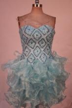 Sweet Short Sweetheart-neck Mini-length Light Blue Beading Prom Dresses Style FA-C-210